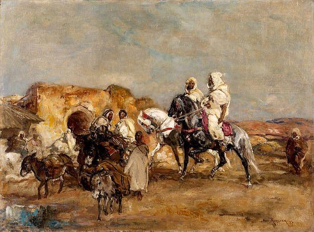 Henri ROUSSEAU (Le Caire, 1875 - Aix-en-Provence, 1933) Halte de cavaliers