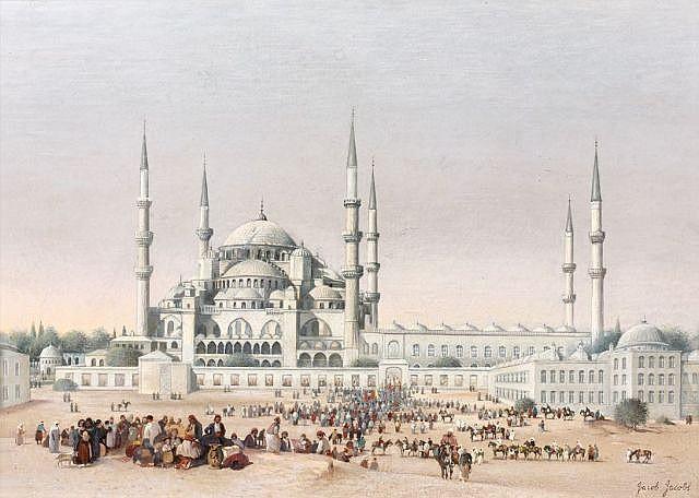 Albrecht JACOB JACOBS (Anvers, 1812 - 1879) Foule animée devant la mosquée Ahmed, Istanbul