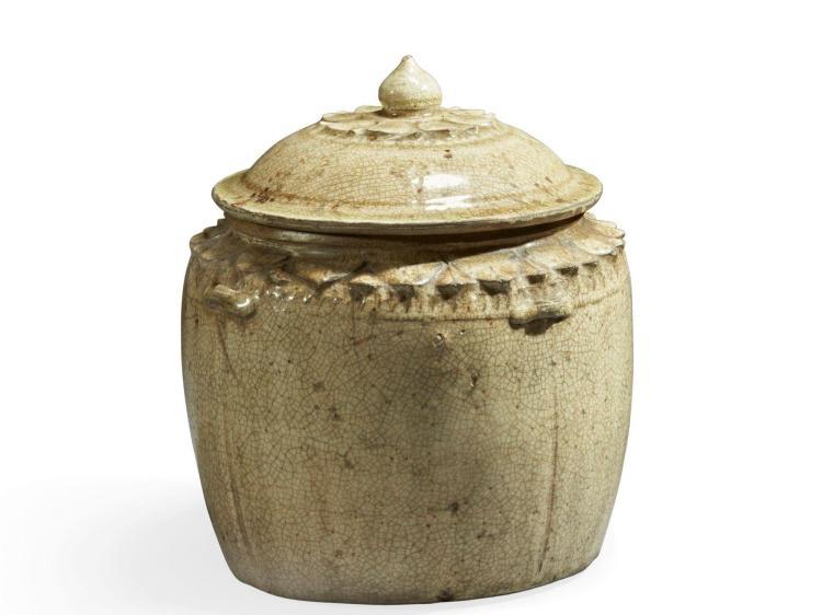 Pot A Couvert : pot couvert en gr s gla ure cr me craquel e vietnam ta ~ Teatrodelosmanantiales.com Idées de Décoration