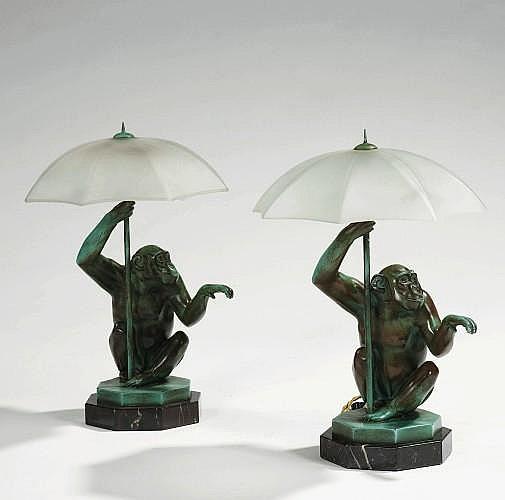 MAX LE VERRIER 1891-1973 DEUX LAMPES DE CHEVET