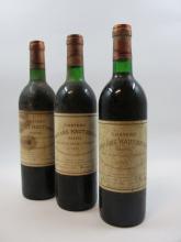 3 bouteilles BAHANS HAUT BRION 1977 Pessac Léognan (légèrement bas