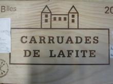 12 bouteilles CARRUADES DE LAFITE 2008 Pauillac Caisse bois d''origine cerclée