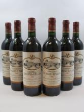 6 bouteilles CHÂTEAU CHASSE SPLEEN 1988 Moulis (étiquettes léger déchirées)