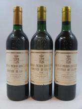 3 bouteilles 1 bt : CHÂTEAU PICHON COMTESSE DE LALANDE 1986 2è GC Pauillac (légèrement bas, léger abimée)