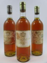3 bouteilles CHÂTEAU SUDUIRAUT 1967 1er cru Sauternes (étiquettes très abimées