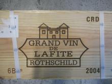 6 bouteilles CHÂTEAU LAFITE ROTHSCHILD 2004 1er GC Pauillac Caisse bois d'origine (Cave 11)