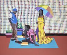 Adolf TEGA Né en 1985 - Zimbabwe What Now (femme à l'ombrelle) - 2020