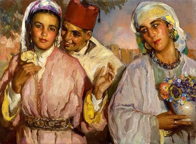 José CRUZ HERRERA (La Linéa, 1890 - Casablanca, 1972) Les fiancés Huile sur toile
