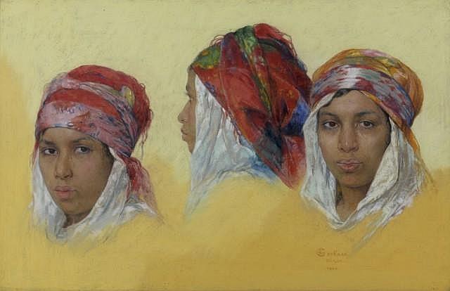 Emile DECKERS (Ensival, 1885 - Verviers, 1968) Portraits d'algéroises, 1940 Pastel sur toile