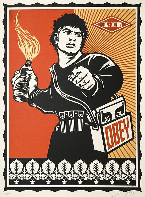 Shepard FAIREY (OBEY GIANT) (né en 1970) MOLOTOV MAN, 2006 Sérigraphie en couleurs