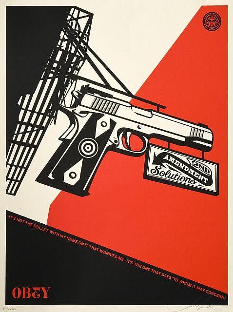Shepard FAIREY (OBEY GIANT) (né en 1970) 2ND AMENDMENT SOLUTIONS, 2011 Sérigraphie en couleurs