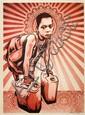 Shepard FAIREY (OBEY GIANT) (né en 1970) YELLOW CANS, 2009 Sérigraphie en couleurs