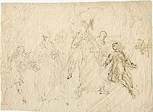 Giuseppe Diamantini Fossombrone, 1621-1705 Diverses études de figures (recto-verso) Plume et encre brune