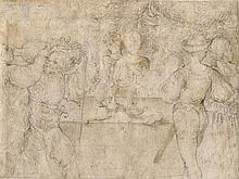 Attribué à Callisto Piazza Lodi, 1500 - 1561 Le banquet Crayon noir et lavis brun
