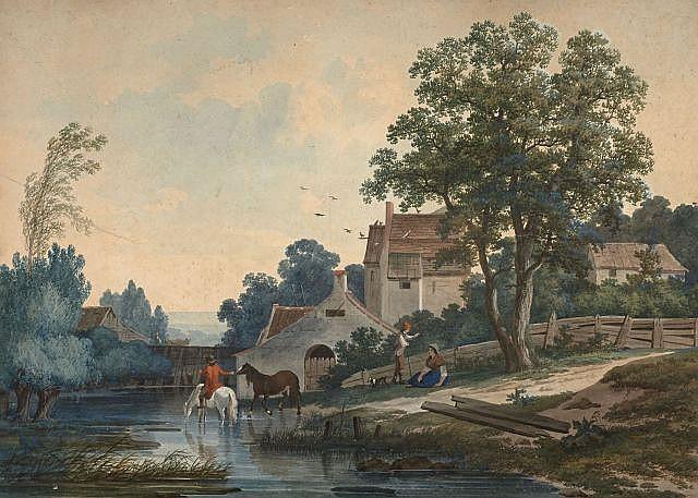 Louis Gadbois 1770 - 1826, actif à Paris Chevaux à la rivière et Les lavandières Paire de gouaches
