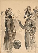 Edouard Detaille Paris, 1848 - 1912 L'entrevue du général Bonaparte Plume et encre brune, lavis gris