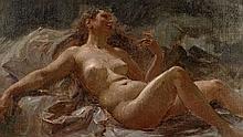 Alexis-Joseph Mazerolle Paris, 1826 - 1889 Etude de nu pour un décor Huile sur toile (Toile d'origine),