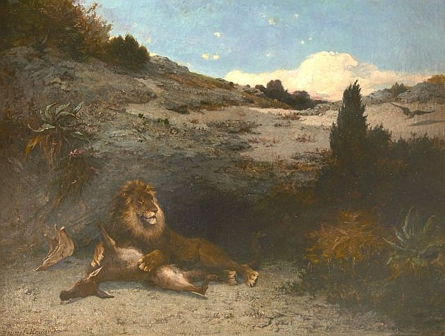 Pierre-Auguste Brunet-Houard Saint-Maixent, 1829 - Fontainebleau, 1922 Lion dévorant une antilope Huile sur toile