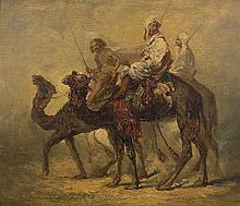 Prosper MARILHAT 1811 - 1847 LES DROMADAIRES Huile sur panneau