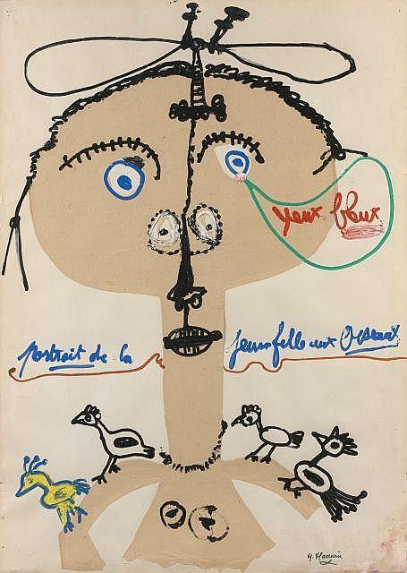 Michel MACREAU (1935-1995) PORTRAIT DE LA JEUNE FILLE AUX OISEAUX Gouache et collage sur papier