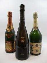 3 bouteilles 1 bt : CHAMPAGNE BILLECART SALMON 1997 Blanc de blancs (étiquette sale)
