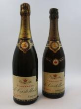 2 bouteilles 1 bt : CHAMPAGNE DE CASTELLANE 1952 (étiquette fanée)