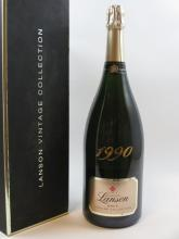 1 magnum CHAMPAGNE LANSON 1990 Brut Vintage Collection Coffret d''origine
