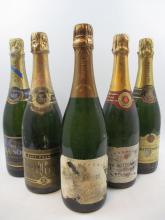 5 bouteilles 1 bt :  CHAMPAGNE DRAPPIER Brut nature (étiquette abimée par l''humidité)
