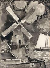 Kees VAN DONGEN 1877 - 1968 Moulin et voilier Lavis d'encre sur papier