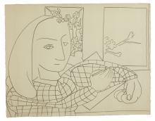 Françoise GILOT Née en 1921 Portrait de petite fille - 1949 Crayon gras sur papier