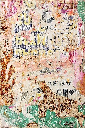 François DUFRENE (1930-1982) DESSOUS D'AFFICHE A LA PAYSANNE II, 1970 Affiches décollées et marouflées sur toile