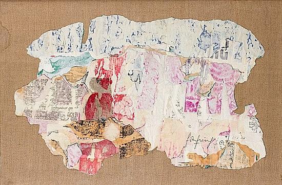 ¤François DUFRENE (1930-1982) COMPOSITION, 1962 Affiches décollées et marouflées sur toile