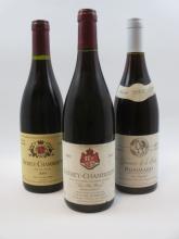 3 bouteilles 1 bt : POMMARD 2002 Les Vignots. Domaine de la Créa (étiquette tachée)
