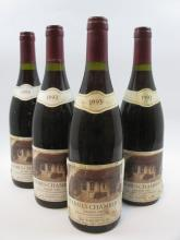 4 bouteilles CHARMES CHAMBERTIN 1993 Grand Cru