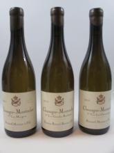 3 bouteilles 1 bt :  CHASSAGNE MONTRACHET 2014 1er cru Les Chenevottes. Domaine Bernard Moreau