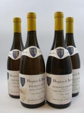 4 bouteilles 2 bts :  MEURSAULT 2003 1er cru Geneviere cuvée Baudot / reserve particulière des Hospices de Beaune (étiquettes léger ta