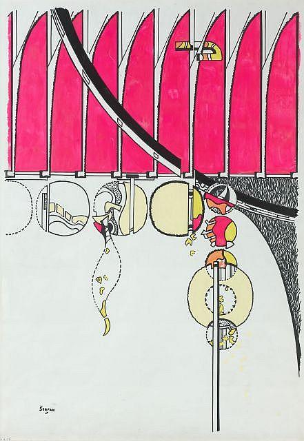 Iaroslav Sossountzov SERPAN (1922-1976) EKN-16, juillet 1973 Dessin au marqueur noir et feutres de couleurs sur papier