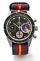 YEMA YACHTINGRAPH vers 1960 Beau chronographe bracelet en acier. Boîtier rond, fond vissé. Lunette noire tournante. Cadran noir...