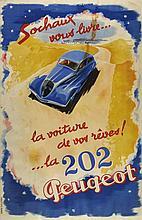 Jean JACQUELIN (1905-1989) Sochaux vous livre…la voiture de vos rêves ! …la 202, Peugeot