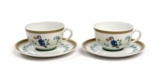 Hermes service de petit d jeuner toi et moi toucan porcelain for Set petit dejeuner porcelaine
