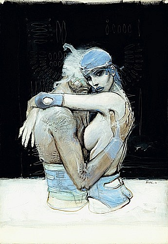 Enki BILAL 1 EB Bleu Sang (eux)Acryliques de couleurs, pastels gras et mine de plomb sur Vélin représentant Nikopol et Jill Bioskop enl