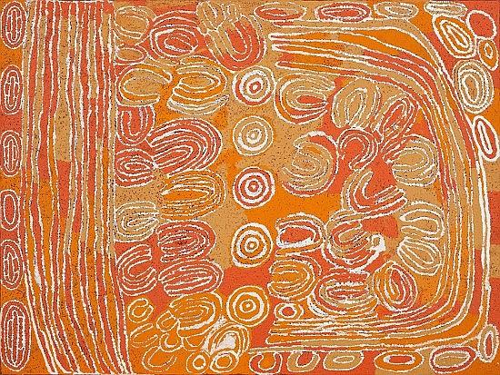 ¤Napaltjarri TJUNKIYA (PINTUPI) (né en 1930) LE POINT D'EAU A UMARI / UMARI ROCKHOLE, 2000 Acrylique sur toile (Belgian linen)