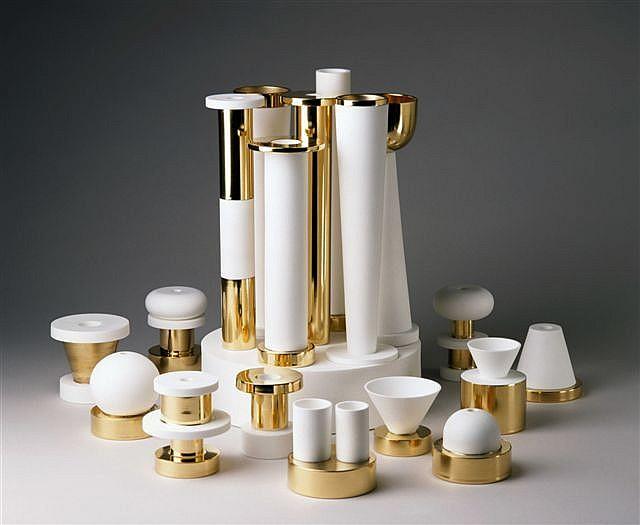 Ettore SOTTSASS Surtout de table blanc et or, 1994
