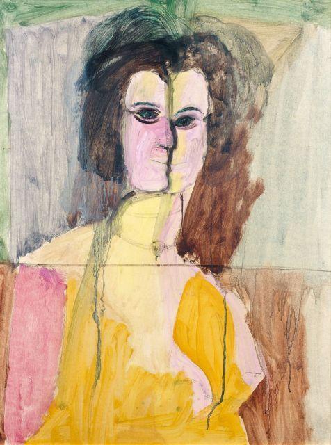 Bruno CASSINARI 1912 - 1992 SANS TITRE - 1950 Gouache sur papier marouflé sur toile