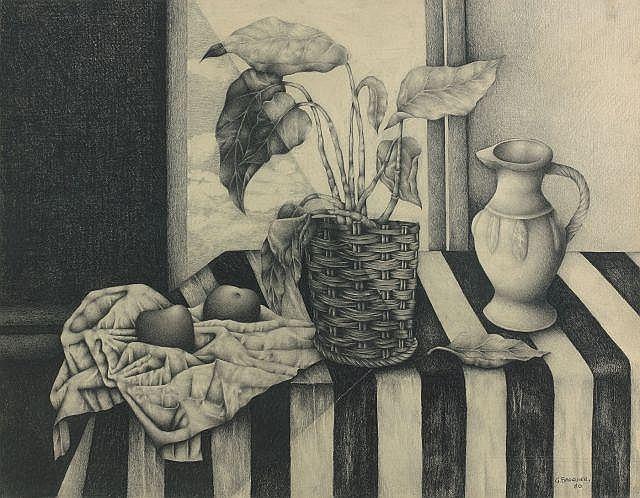 Georges BAUQUIER 1910 - 1997 ETUDE : NATURE MORTE AUX DEUX POMMES - 1980 Fusain sur papier