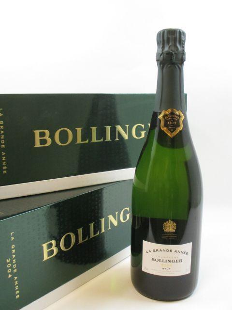 2 bouteilles CHAMPAGNE BOLLINGER 2004 Grande année (dégorgé en mars 2013) Coffret d''origine (Cave 2)