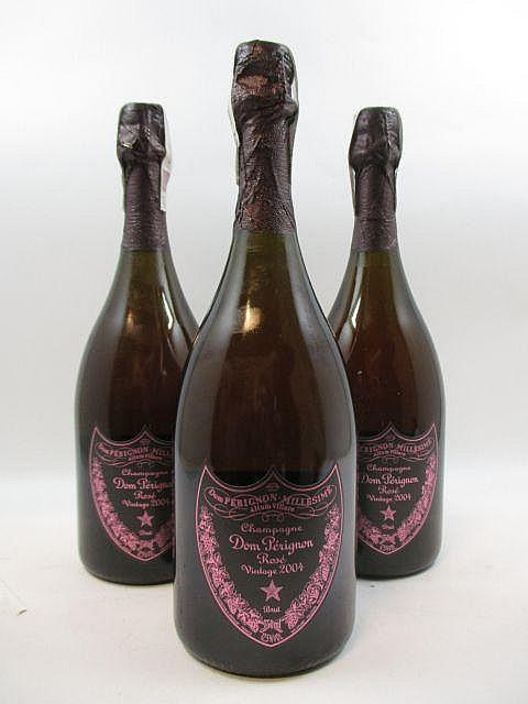 3 bouteilles CHAMPAGNE DOM PERIGNON 2004 Rosé