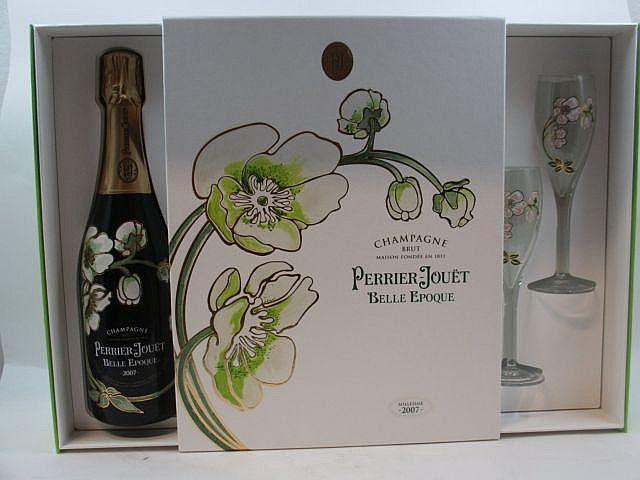 1 bouteille CHAMPAGNE PERRIER JOUET 2007 Belle époque Coffret d''origine + 2 flûtes