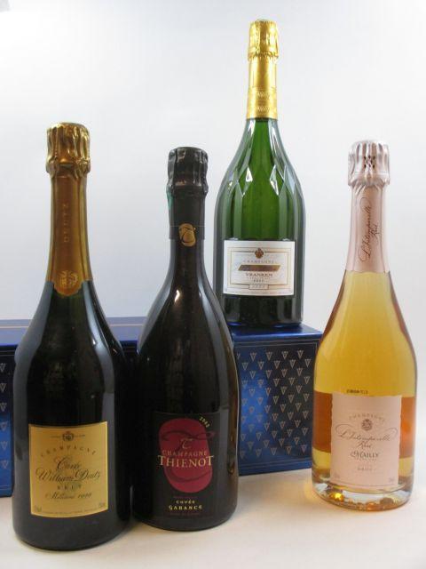 4 bouteilles 1 bt : CHAMPAGNE THIENOT 2002 Cuvée Garrance. Blanc de Rouges Etui d''origine