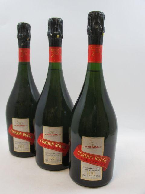 3 bouteilles CHAMPAGNE MUMM 1990 Greenwich Meridian